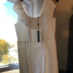 BCBG Max Azria NWT White Sz 12 dress with ruffle